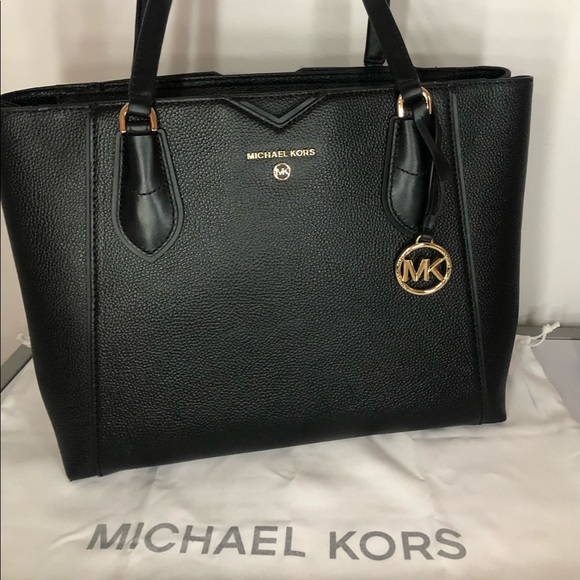 Michael Kors Black Pebbled Leather Tote Bag